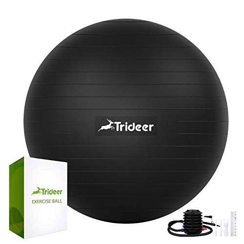 Trideer Exercise Ball (45-85cm) Extra Thick Yoga Ball Chair, Heavy Duty Stability Ball Supports 2200lbs, Birthing Ball with Quick Pump (Office & Home...