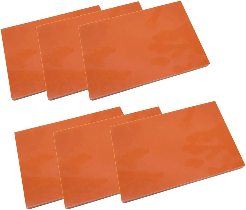 XMRISE Rojo baquelita Resina fenólica planchas Placas Placas Paneles Placas PCB 100 mm x 100 mm x 8 mm 6 Piezas