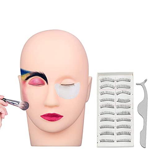 Cabeza de Maquillaje con 10 pares Pestañas Falsas y 1pcs Clip de Pestañas para Maquillaje de Práctica Labio de Extensión de Pestañas Modelo