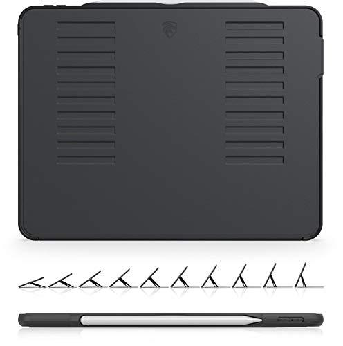 ZUGU iPad Pro 12.9 ケース 2018 第3世代 The Muse Case 極薄 落下衝撃保護 10段階スタンド機能 オートスリープ スマートカバー (ipad pro12.9インチ 3世代 カバー ブラック)