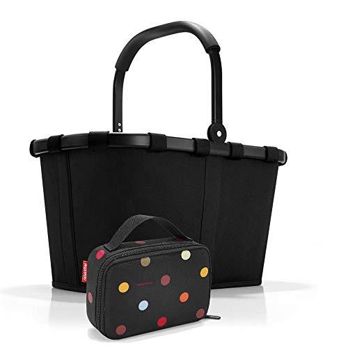 Reisenthel Set de carrybag BK Thermocase OY SBKOY Cesta de la compra con pequeña bolsa isotérmica, Frame Black + Dots (Negro) - SBKOY