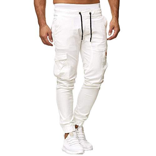 Yowablo Jogginghose Herren Jogging Streetwear Sporthose Lässige elastische Sport Solide Baggy Pockets Hose (XL,1Weiß)
