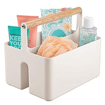 mDesign Plastic Portable Storage Organizer Utility Caddy Tote Divided Basket Bin with Wood Handle for Bathroom Dorm Room Holds Hand Soap Body Wash Shampoo Conditioner Lotion - Cream/Natural