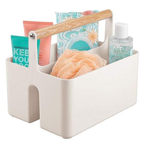 mDesign Caja organizadora para cuarto de baño – Cesta con asa de madera para el almacenamiento de productos cosméticos – Organizador de baño con 2 compartimentos – blanco