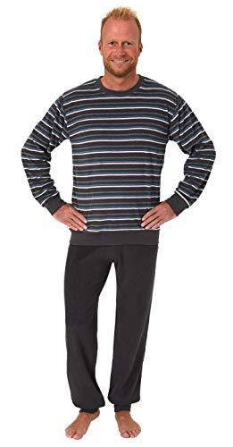Herren Frottee Pyjama Langarm Schlafanzug mit Bündchen in Streifenoptik - 281 101 13 648, Größe2:50, Farbe:dunkelgrau
