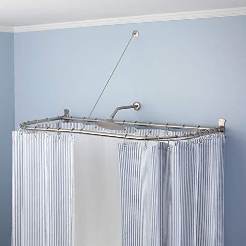 Naiture Stainless Steel 54'' x 30'' D Shape Shower Curtain Rod, Chrome Finish