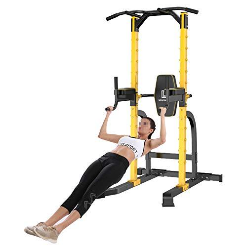 Goodvk Estación de musculación Pull Up Bar Dip Stands Entrenamiento de Fuerza Home Office Gimnasio Equipo de Fitness (Color : Amarillo, tamaño : 208 * 104 * 103CM)