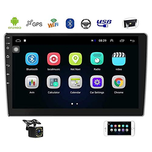 Double Din Car Stereo 10.1 Inch Android Navigation Stereo Touch Screen in Dash Car Radio with Bluetooth FM Radio Receiver Support WiFi Mirror Link, Steering Wheel Control, Rear View Camera, Dual USB