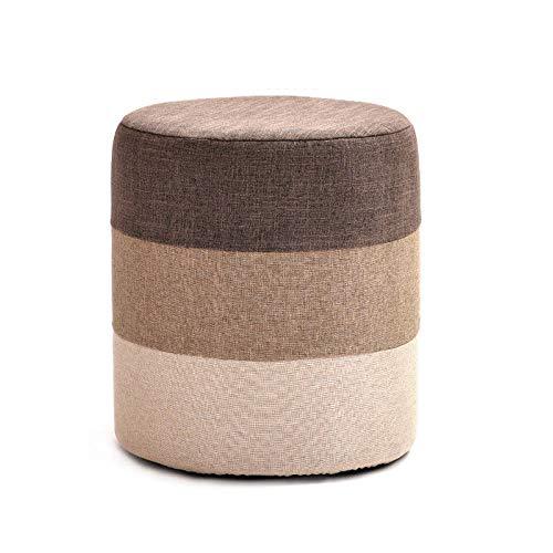 Monthyue Ottomaanse kruk, voet rust Ottomaanse poef voetbank opslag krukken ronde poef stoel zitkussen voeten 4 houten benen
