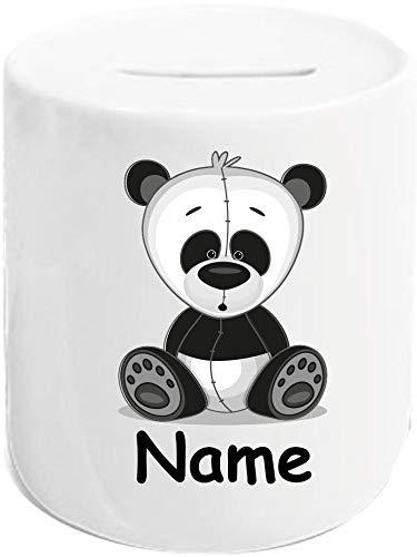 Shirtinstyle Hucha de Cerdito, Motivo Niño, Banderín, Guirnalda, Estrellas, Niños, Dormitorio Infantil Decoración, Cojín Decorativo con Relleno, Motivo, Logo - Hucha Oso Panda