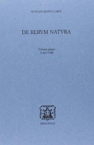 De rerum natura. Libri 1°-3° (Vol. 1)