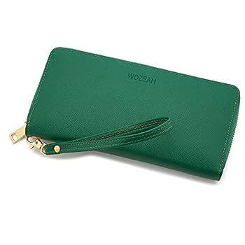WOZEAH Women s RFID Blocking PU Leather Zip Around Wallet Clutch Large Travel Purse  green