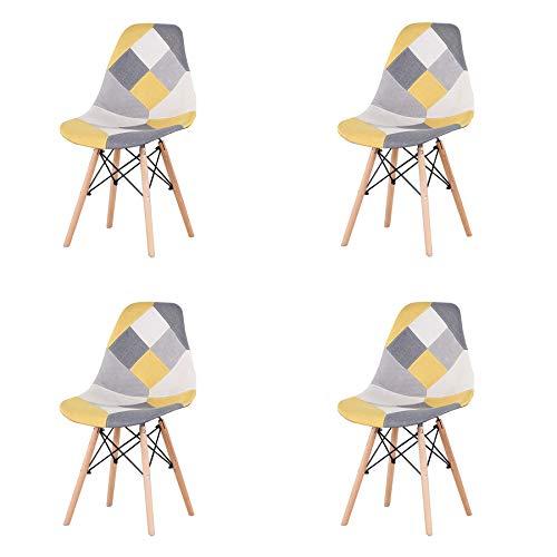 EGOONM Set di 4 Sedie da Pranzo Patchwork, Sedie in Tessuto di Lino,Sedie da Soggiorno,Sedia da Ufficio (Patchwork Giallo)