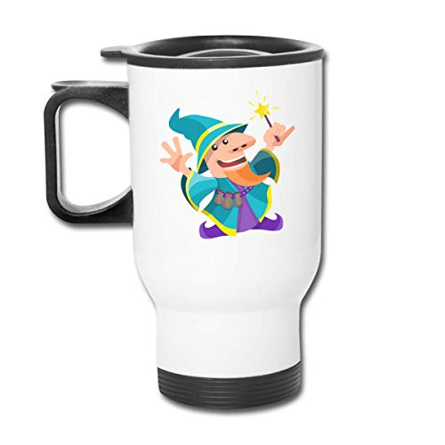 Bestqe Tazza da Viaggio con Manico, Cartoon Cute Wizard 13.5oz Car Cup Stainless Steel Insulated Vacuum Travel for Best Gift