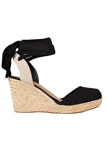 Damen Espadrille Keilabsatz Sandalen Gladiator Knöchelriemchen Geschlossen Zeh Hoher Absatz Sommerschuhe