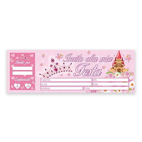 Inviti Festa Compleanno Principessa Fiabe - Blocchetto da 20 pz.