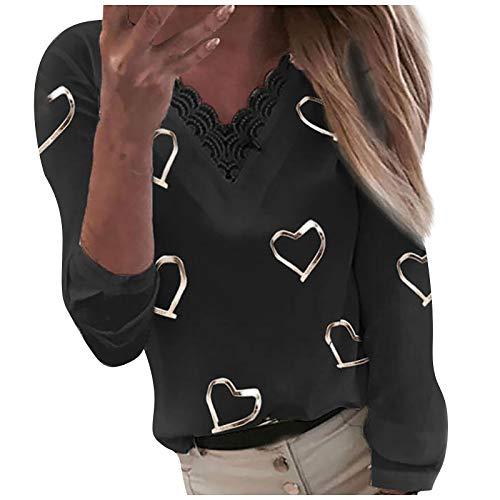 MORCHAN Chemisier Femme Dentelle Tunique Haut Femme Chic Manches Longues Tops Blouse Pull Col Rond Patchwork T Shirt Casual T-Shirt Chemisier Blouse