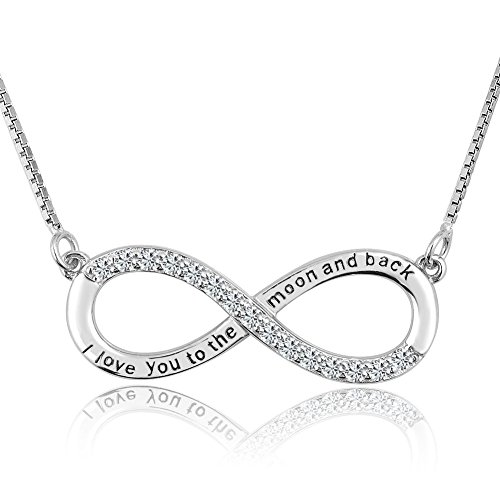 CharmSStory Mothers Day Mother Daughter Forever Love Infinity Sterling Silver Heart Necklace Pendant for Mom (I Love You to The Moon and Back)