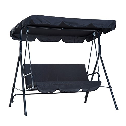 Outsunny 3-Person Steel Outdoor Porch Sling Fabric Swing Canopy with Stand - Black