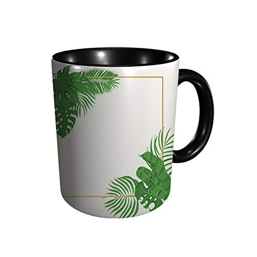 Pizeok Hojas tropicales boda marco dorado Aralia Monste divertido regalo/regalo – taza de cerámica para té/café, 11 oz
