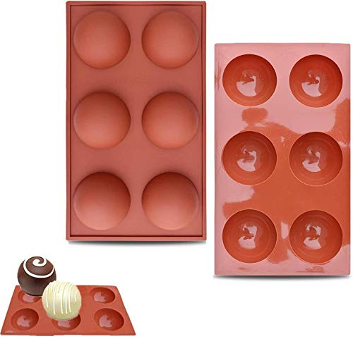 6-Hole Chocolate Making Silicone Mold, Semi-Circular Candy Cake Pudding, Baking Mold, Creative DIY Handmade Mold For Kitchen Cake Room (2Brown)