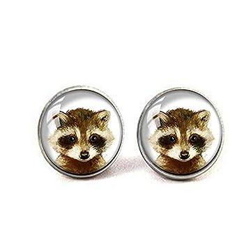 Retro Handmade Glass Dome Earrings,Baby Raccoon Earrings