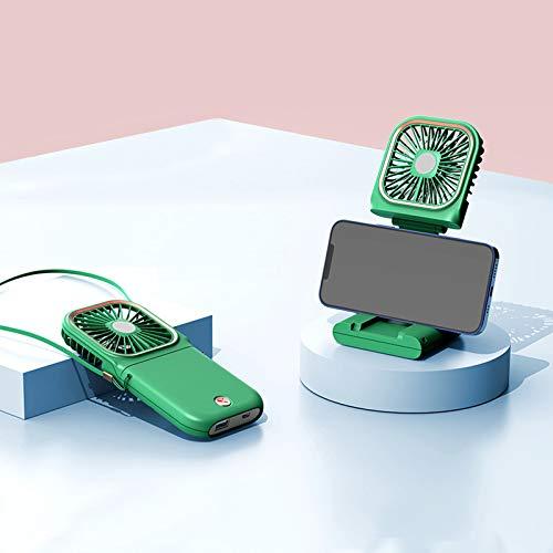 WANZPITS USB Ultra-Thin Portátil Portátil Cuello Colgante Fan Handheld Power Bank Soporte De Escritorio Mini Silencioso Ventilador, Estilo Extraíble Ventilador De Bolsillo Plegable,Verde,B