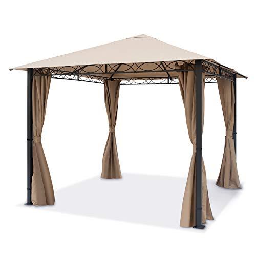 TOOLPORT Gartenpavillon 3x3m wasserdicht Premium Pavillon mit 4 Seitenteilen Gartenzelt ca. 220g/m² Dachplane in Taupe Partyzelt
