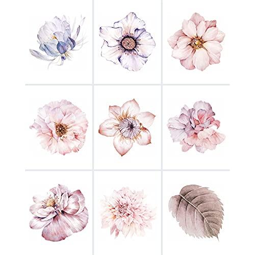 FoLIESEN - Adesivi bianchi con fiori acquerellabili - 20 x 25 cm per bagno, cucina, bagno - Pellicola autoadesiva - 9 piastrelle adesive, *: bianco lucido