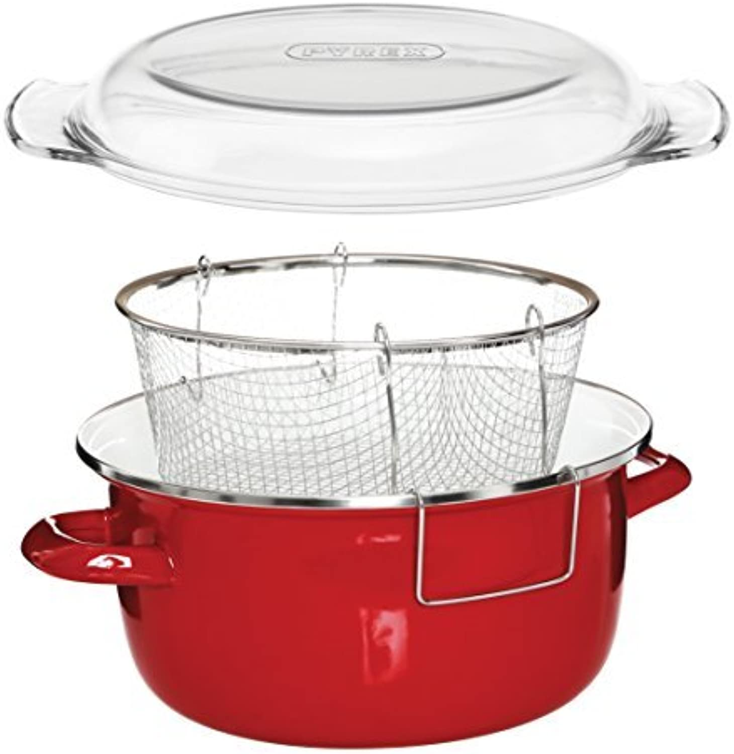 saludable Premier Houseware 5 L Deep Fryer with Pyrex Lid Lid Lid - 16 x 33 x 27 cm, rojo by Premier Housewares  perfecto