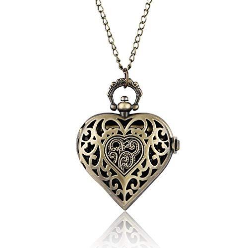 J-Love Bellissimo Ciondolo a Forma di Cuore per Donna, Ragazza, Fidanzata, Moglie, Collana, Orologio da Tasca al Quarzo, Orologi da Infermiera