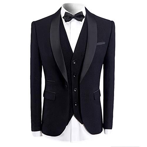 Sliktaa Herren Anzug 3 Teilig Slim fit Hochzeit Party EIN Knopf Schal Revers Smokingjacke und Weste Hose