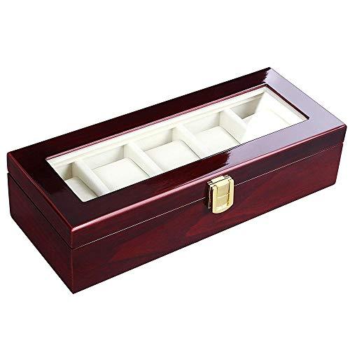 Cuero Reloj Caja Reloj Box Watch Organizer 12 Grids Wooden Watch Almacenamiento Mostrar caja de almacenamiento Caja de almacenamiento Joyería Colección Organizador Holder D30 Cajas ( Color : 5 Grids )