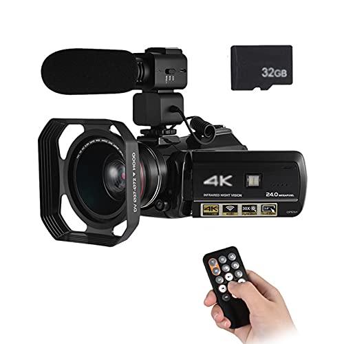 tquuquu Videocámara 4k, Videocámara Profesional Videocámara Profesional 4k con Lente Gran Angular Adicional De 0.39x Parasol De Lente Micrófono Externo Tarjeta SD De 32g Videocámara Digital