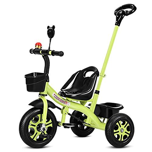 El Triciclo Para Niños Es Adecuado Para Cochecitos De Bebé De 1 A 6 Años Con Mango Ajustable Con Varilla De Empuje Para Niños Y Niñas.Juguetes Antideslizantes Para Montar En Scooter Para (Color:verde)