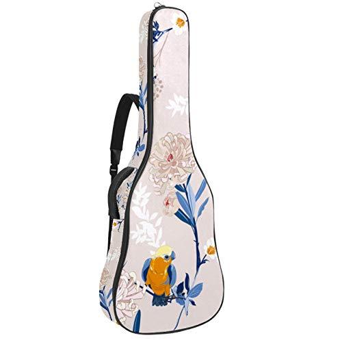 Z&Q Pintura De Aves De Flores Funda para Guitarra Resistente al Agua Tejido Oxford Correas 10mm de Grosor Algodón Acolchado con Bolsillos 109x43x12cm
