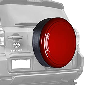 Boomerang 30  Color Matched Rigid Tire Cover for Toyota RAV4  06-12  -  Plastic Face & Vinyl Band  - Barcelona Red