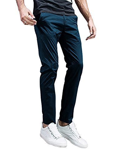Match Mens Slim-Tapered Flat-Front Casual Pants (32, 8105 Blue Black)