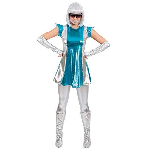 Disfraz Space Woman, Size 34/36, guantes de vestir plateados espacio futuro