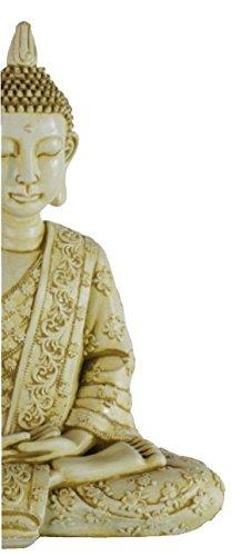 DEGARDEN AnaParra Figura Decorativa Buda de hormigón-Piedra para jardín o Exterior 58cm. Ocre