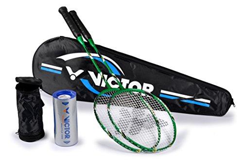 VICTOR Badminton Set, 2X VICTEC Rap Badmintonschläger/Racketbag / 3X Nylonball, Grün/Schwarz/Weiß