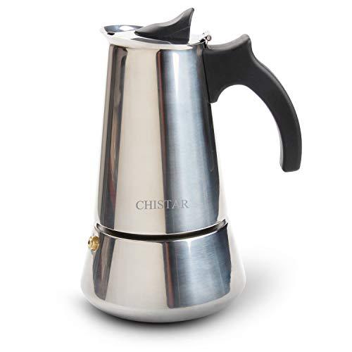 CHISTAR Espressokocher 6 Tassen Induktion Mokkakanne Kaffeekocher Edelstahl