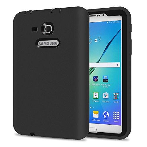 Galaxy Tab 3 Lite 7.0 Case, TKOOFN Shockproof Heavy Duty Rugged Hybrid Silicone Case Cover for Samsung Galaxy Tab 3 7-Inch SM-T110 T111 T113 T116 ,Black+Black