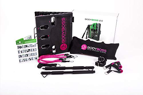 BodyBoss Home Gym 2.0 by 1loop - Full Portable Gym Workout Package, Includes a Set of 2 Resistance Bands - Collapsible Resistance Bar, Handles + More- Full Body Workouts for Home, Travel or Outside