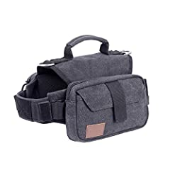 "【OneTigris HOPPY CAMPER Doggy Backpack 2.0】Size Medium: 17""-23.5""/43cm-60cm (neck), 25""-31""/64cm-79cm (belly), 9.8""/25cm (back); Net weight: 16.2oz/460g; 2 adjustable straps fits for medium & large dog 【Dog Backpacks for Dogs to Wear】Two main zipper ..."