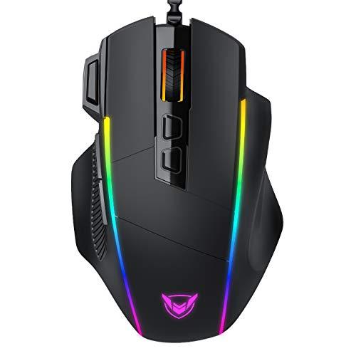 Holife Maus RGB Ergonomisch, 8000DPI & 8 programmierbar Tasten(Feuerknopf) Kabel, 7 RGB Beleuchtungsmodi ideal für Mouse mit komfortable Griff, PC | Laptop