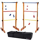 GSE Games & Sports Expert Premium Ladder Ball Toss Outdoor Lawn Game Set with Ladderball Bolas & Carrying Case (Premium Wooden Set)