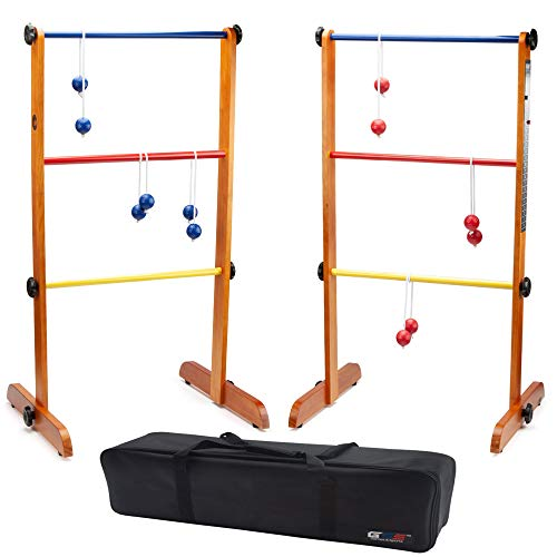GSE Games & Sports Expert Premium Ladder Golf Ball Toss Outdoor Lawn Game Set with Ladder Ball Bolas & Carrying Case (Wooden Ladder Toss Game Set)