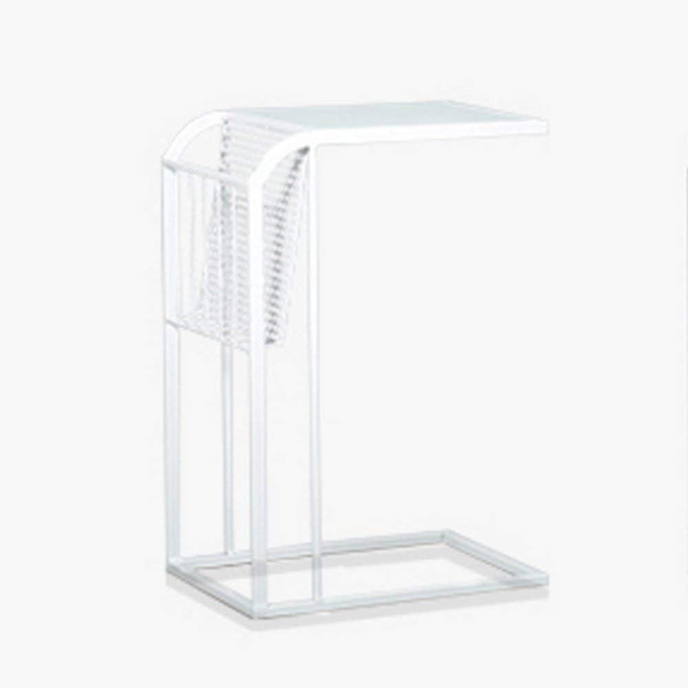 comodino in vetro temperato 43 x 43 x 52 cm stile industriale ripiano in legno elegante fino a 100 kg telaio in acciaio moderno tavolino da caff/è Comodino ausiliario