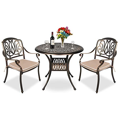 TITIMO 3 Piece Outdoor Furniture Dining Set, All-Weather Cast Aluminum Conversation Set Includes 1 Round Table and 2 Chairs with Khaki Cushions and Umbrella Hole for Patio Garden Deck